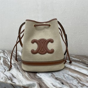 celine SEAU MARIN fabric and cow leather handbag bucket bag 196752