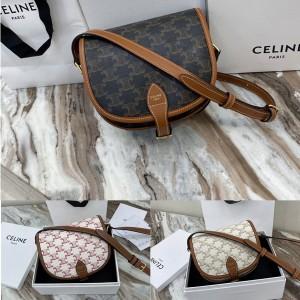 celine FOLCO medium logo print handbag saddle bag 191502