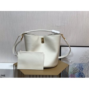 celine BUCKET 16 smooth cow leather bucket bag white 195573