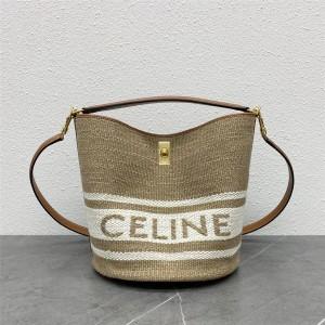 celine BUCKET 16 fabric and cow leather bucket bag 195572