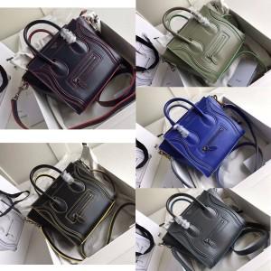 celine smooth cowhide LUGGAGE cowhide handbag smiley bag