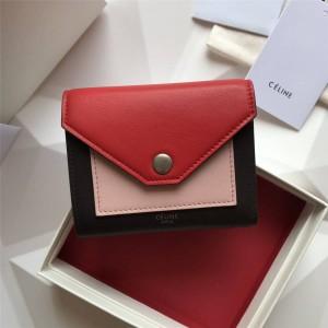 celine leather short POCKET colorblock tri-fold buckle wallet