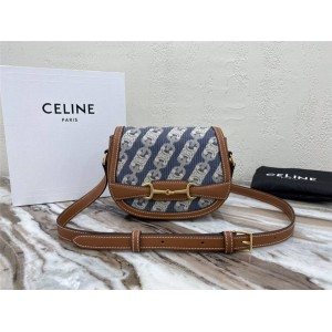 celine CRÉCY TRIOMPHE Jacquard and cow leather small handbag 191362