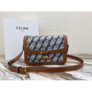celine medium CHAÎNE TRIOMPHE jacquard and calfskin handbag 191242