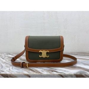 celine TEEN TRIOMPHE canvas and calfskin shoulder bag