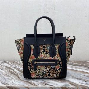 Celine LUGGAGE NANO floral jacquard and cow leather handbag
