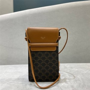 Celine TRIOMPHE artificial leather and sheep leather mobile phone bag 10G332
