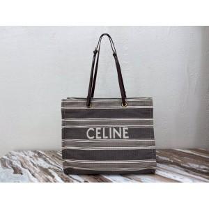 Celine CABAS striped jacquard and cow leather square handbag 192172