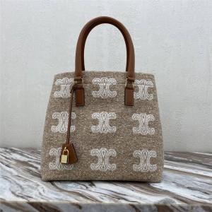 Celine CABAS TRIOMPHE jacquard and cow leather horizontal handbag 192162