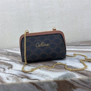 celine embroidery TRIOMPHE artificial leather chain bag clutch 10E382