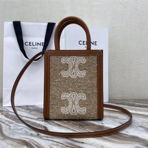 Celine CABAS TRIOMPHE Jacquard Fabric MiNi Vertical Handbag 193302