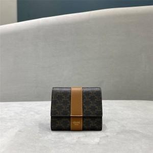 celine women's short TRIOMPHE CANVAS tri-fold wallet