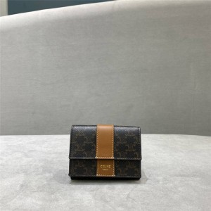 celine ladies short TRIOMPHE CANVAS tri-fold card holder