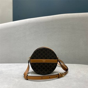 Celine TRIOMPHE artificial leather and sheep leather belt round wallet 10G342