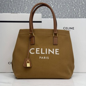 Celine CABAS horizontal LOGO printed canvas handbag shopping bag 192162