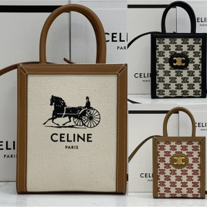 Celine CABAS TRIOMPHE SULKY mini vertical canvas handbag 193302