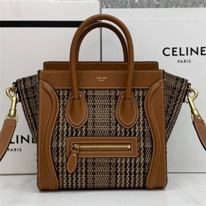 celine LUGGAGE NANO tweed stitching leather handbag