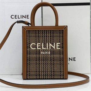 Celine CABAS embroidered fabric and cowhide vertical handbag 192082/193302