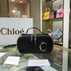 chloe new C Bag calfskin cosmetic box bag chain bag