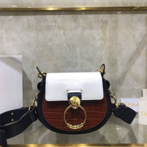 chloe new crocodile color matching Tess shoulder bag saddle bag