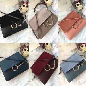 Chloe new suede stitching leather large Faye organ bag