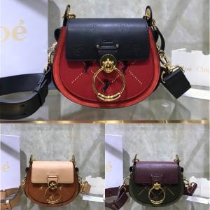 Chloe new color matching leather pony embroidery small TESS handbag