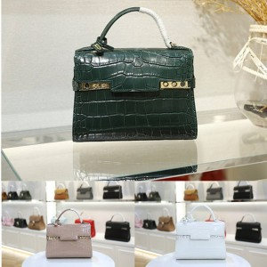 Delvaux women's bag crocodile print small Temppete handbag