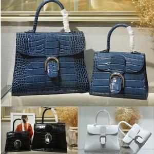 Delvaux new crocodile pattern horseshoe buckle Brillant handbag