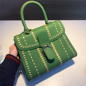 Delvaux woven limited edition large Togo leather brillant handbag