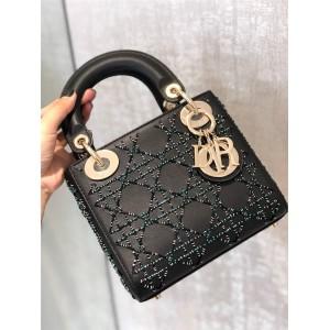 DIOR Handbag New Lady Mini Limited Edition Crystal Leather Beaded Princess Bag