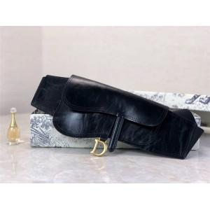 dior new women's belt SADDLE black sheep leather belt bag B0049