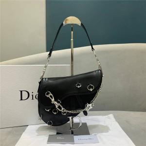 DIOR new leather limited edition punk blower saddle bag handbag