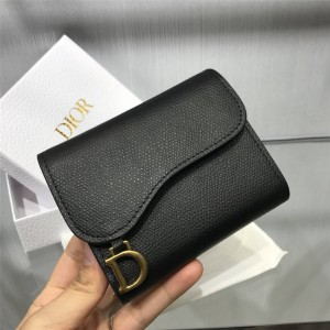 DIOR Women's Short Medium Leather Leather Saddle Wallet S5652