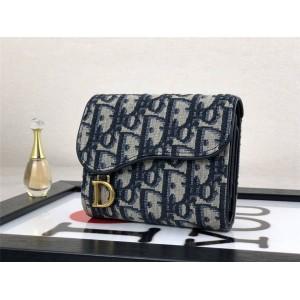 DIOR Women's Short OBLIQUE Printed Saddle Tri-Fold Wallet S5621
