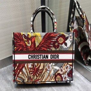 DIOR Phoenix embroidered BOOK TOTE canvas tote bag shopping bag