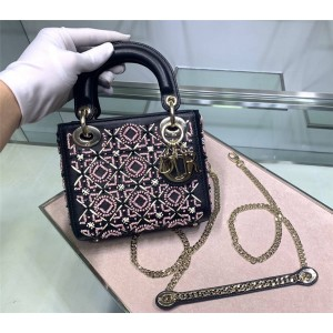 DIOR New Embroidered Glass Bead Lady 3 Check Bags