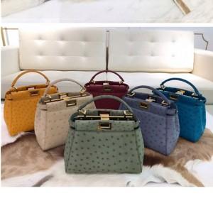 Fendi ostrich leather PEEKABOO ICONIC MINI handbag 8BN244