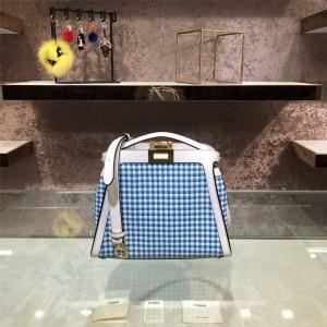 FENDI PEEKABOO ICONIC ESSENTIALLY Vichy interwoven handbag