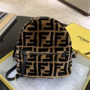 FENDI FF LOGO Brown Wool Sheepskin Small Backpack 8BZ038