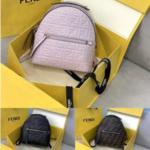 FENDI Women's Embossed Leather FF Mini Backpack 8BZ038