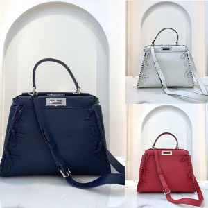FENDI new PEEKABOO ICONIC handbag with woven bow