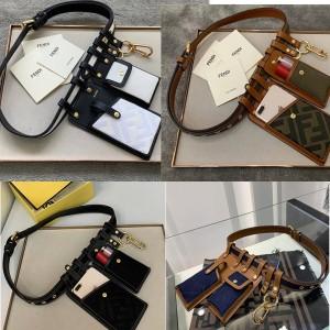 FENDI FF denim and leather belt multi-pocket waist bag 8C0593