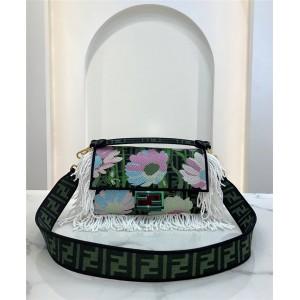 FENDI Embroidered Tassel BAGUETTE Fabric Handbag 8BR600