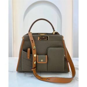 FENDI new PEEKABOO multi-pocket canvas handbag