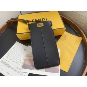 FENDI PEEK-A-PHONE black leather phone bag 8M0442