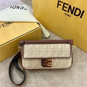 FENDI canvas embroidered FF Baguette medium handbag