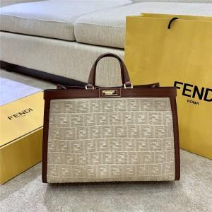FENDI FF Embroidered PEEKABOO X-TOTE Canvas Shopping Bag