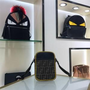 fendi men's FF canvas and leather small messenger bag 7VA456