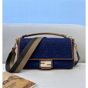 fendi women's bag new denim large BAGUETTE handbag