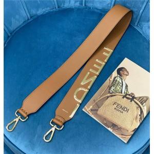 fendi new metal letter logo leather wide shoulder strap
